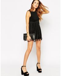 ASOS - Black Dress With Fringe Overlay - Lyst