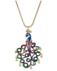 Betsey Johnson | Metallic Gold-tone Peacock Pendant Necklace | Lyst