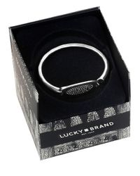 Lucky Brand | Metallic Oval Silvertone Pave Bangle Bracelet | Lyst