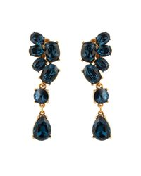 Oscar de la Renta | Blue Swarovski-Crystal Asymmetric Earrings | Lyst