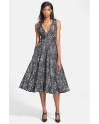 Tracy Reese | Gray Shirred Satin Fit & Flare Dress | Lyst