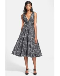 Tracy Reese - Gray Shirred Satin Fit & Flare Dress - Lyst