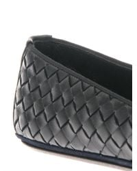 Bottega Veneta - Black Intrecciato Woven Leather Slippers - Lyst