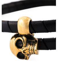 Alexander McQueen | Black Leather-wrapped Skull Bangle for Men | Lyst