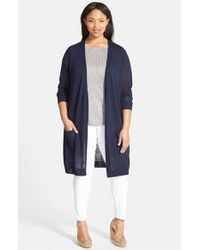 Halogen | Blue Open Front Long Cardigan | Lyst