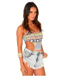 Missguided - Multicolor Pritty Aztec Cut Out Bodysuit - Lyst