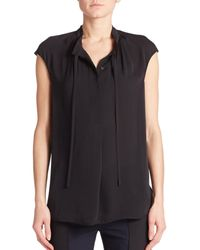 VINCE | Black Silk Cap-sleeve Top | Lyst