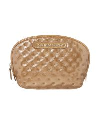 Love Moschino - Quilt Large Metallic Gold Cosmetic Bag - Lyst