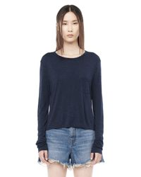 Alexander Wang - Blue Classic Long Sleeve Tee With Pocket - Lyst