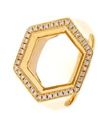 Noor Fares | Metallic Hex Seal Gold And Diamond Ring | Lyst