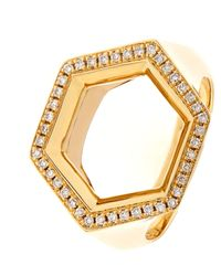 Noor Fares - Metallic Hex Seal Gold And Diamond Ring - Lyst
