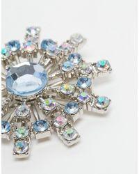 ASOS - Blue Pretty Rhinestone Brooch - Lyst