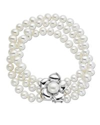 Lord & Taylor | White Pearl Bracelet With Sterling Silver Flower 9mm | Lyst