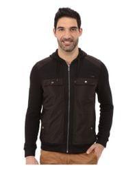 Calvin Klein - Black Long Sleeve Mixed Media French Solid Mix Media French Rib Hood Sweatshirt for Men - Lyst