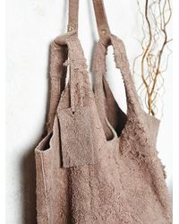 Free People - Natural Latico Leathers Womens Scarlett Distressed Suede Tote - Lyst