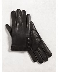 John Varvatos - Black Nappa Sheepskin Snap Glove for Men - Lyst