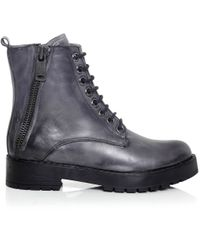 Inuovo | Gray Punk Lace Up Boots | Lyst