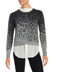 DKNY | Multicolor Leopard-print Layered Sweater | Lyst