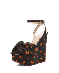Charlotte Olympia - Black Miranda 155 Embroidered Canvas Wedges - Lyst