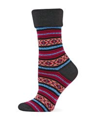 Hot Sox - Black Patterned Crew Socks - Lyst