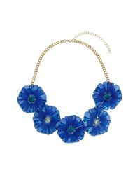 TOPSHOP - Large Blue Flower Necklace Blue - Lyst
