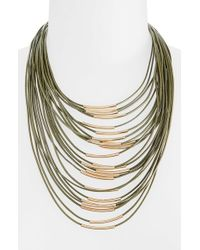 TOPSHOP | Green Multi-Row Necklace | Lyst