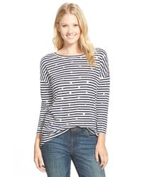 Caslon - Blue Foiled Print Button Back High/low Tee - Lyst