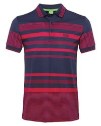 BOSS Green - Blue Paddy 1 Striped Polo Shirt for Men - Lyst