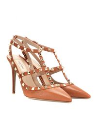 Valentino | Brown Rockstud Leather Pumps | Lyst