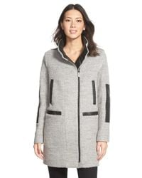 Vince Camuto | Gray Faux Leather Trim Boucle Coat | Lyst