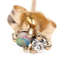 Wwake - Metallic Diamond And Opal Stud Earrings - Lyst