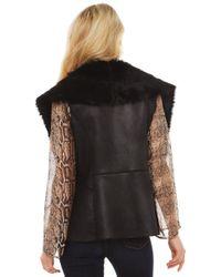 Akira Black Label - Tough Girl Fur Collar Vest In Black - Lyst