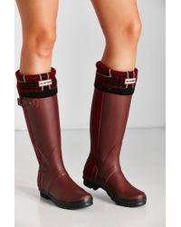 HUNTER - Red Knit Tartan Boot Sock - Lyst