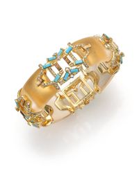 Alexis Bittar - Metallic Pheonix Deco Lucite, Howlite Turquoise, Jasper & Crystal Stepped Baguette Bangle Bracelet - Lyst