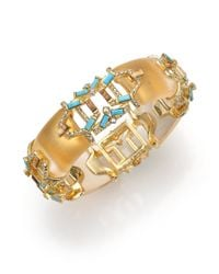 Alexis Bittar | Metallic Pheonix Deco Lucite, Howlite Turquoise, Jasper & Crystal Stepped Baguette Bangle Bracelet | Lyst