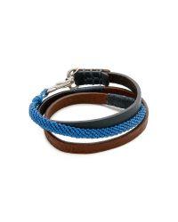 Caputo & Co. - Blue Hand Knotted Triple Wrap Bracelet for Men - Lyst