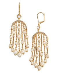 kate spade new york - Metallic 'pearls Of Wisdom' Chandelier Earrings - Lyst
