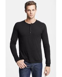 Vince | Black Long Sleeve Knit Henley for Men | Lyst