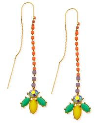 Guess - Gold-tone Multicolor Stone Threader Earrings - Lyst