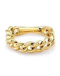 Anne Sisteron - Metallic 14kt Yellow Gold Thin Chain Link Ring - Lyst