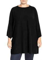 Eileen Fisher | Black Crewneck Wool Knit Tunic Sweater | Lyst