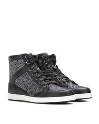 Jimmy Choo - Black Tokyo Leather And Lamé High-top Sneakers - Lyst