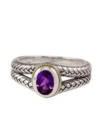 Lord & Taylor | Metallic Balissima Sterling Silver And 18kt Yellow Gold Ring With Amethyst Stone | Lyst
