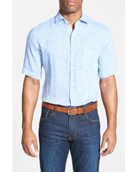 Peter Millar | Blue Regular Fit Short Sleeve Linen Sport Shirt for Men | Lyst