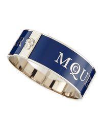 Alexander McQueen | Blue Medium 3d Enamel Logo & Skull Cuff | Lyst