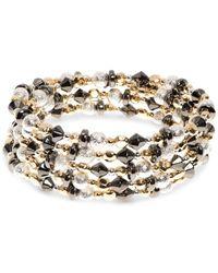 Nine West | Metallic Tri-tone Beaded Multi-row Coil Bracelet | Lyst