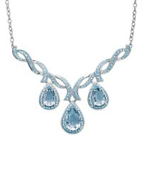 Lord & Taylor | Blue Sterling Silver And Crystal Necklace | Lyst