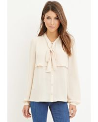 Forever 21 | Pink Flounced Self-tie Blouse | Lyst