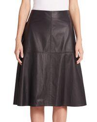 Vera Wang - Black Leather Midi Skirt - Lyst