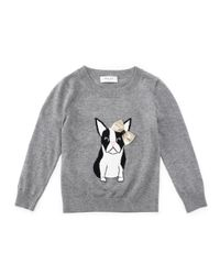MILLY - Gray Long-sleeve Knit Dog Sweater - Lyst
